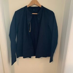 Tops - Navy height neck button up